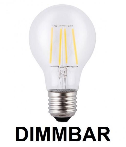 4 Watt Faden Filament LED Lampe, Birne, E27, Lichtfarbe warmweiß 2700 K, Klarglas, dimmbar