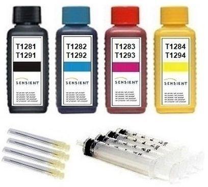 Nachfüllset für Epson Tintenpatronen T0711-4, T1281-4 ,T1291-4, T7021-4 - 4 x 100 ml Sensient Tinte