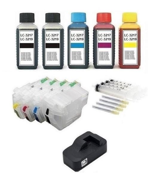 Wiederbefüllbare Patronen wie Brother LC-3217, LC-3219 XL + Chipresetter + 500 ml Nachfülltinte