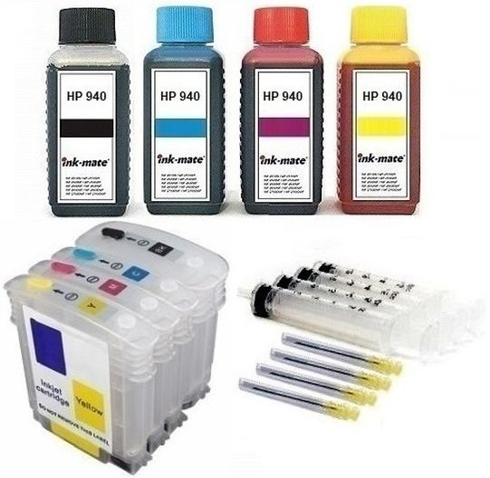 Wiederbefüllbare QUICKFILL-FILL-IN Patronen HP 940 XL + 400 ml INK-MATE Tinten