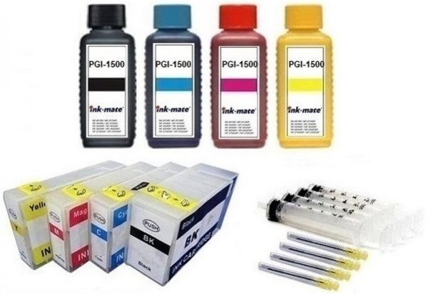 Wiederbefüllbare Tintenpatronen wie Canon PGI-1500 + 4 x 100 ml Nachfülltinte