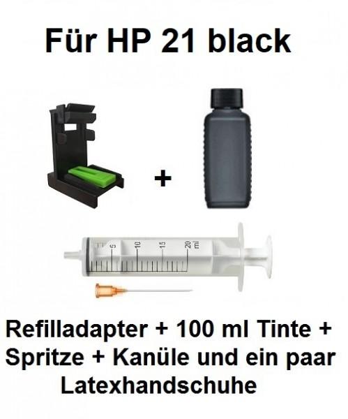 Befülladapter + 100 ml INK-MATE Nachfüll-Tinte schwarz für HP 21 black (XL)