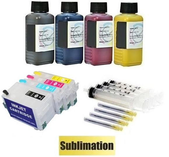 Wiederbefüllbare QUICKFILL-FILL-IN Patronen wie Epson T27 XL + 400 ml Sublimationstinten
