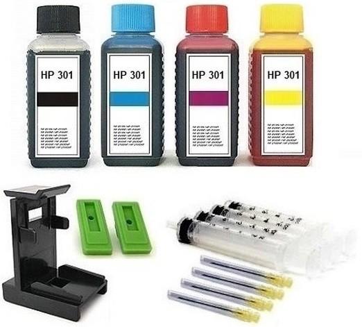 Nachfüllset für HP 301 (XL) black + color Tintenpatronen - 4 x 100 ml Nachfülltinte + Zubehör