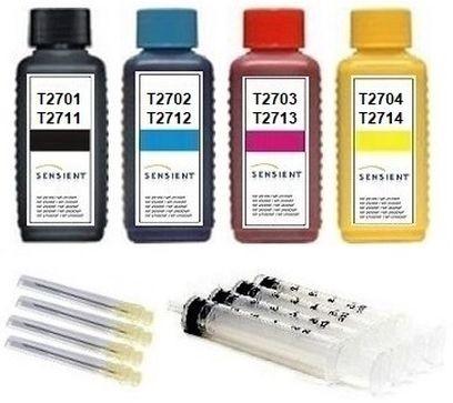 Nachfüllset für Epson Tintenpatronen T2701-T2704, T2711-T2714, T27 XL - 4 x 100 ml Sensient Tinte