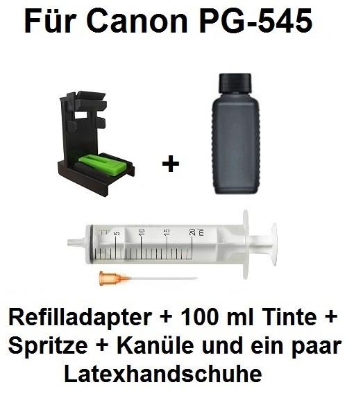 Befülladapter + 100 ml INK-MATE Nachfüll-Tinte black für Canon PG-545 (XL)
