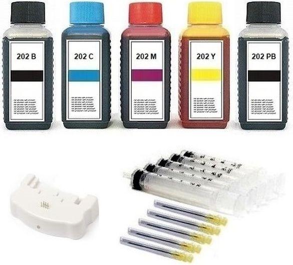 Nachfüllset 500 ml Nachfülltinte + Chipresetter für Epson Tintenpatronen 202, 202 XL