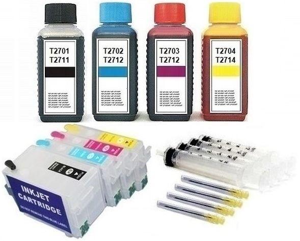 Wiederbefüllbare Tintenpatronen wie Epson T2711-T2714, T27 XL + 400 ml Nachfülltinte