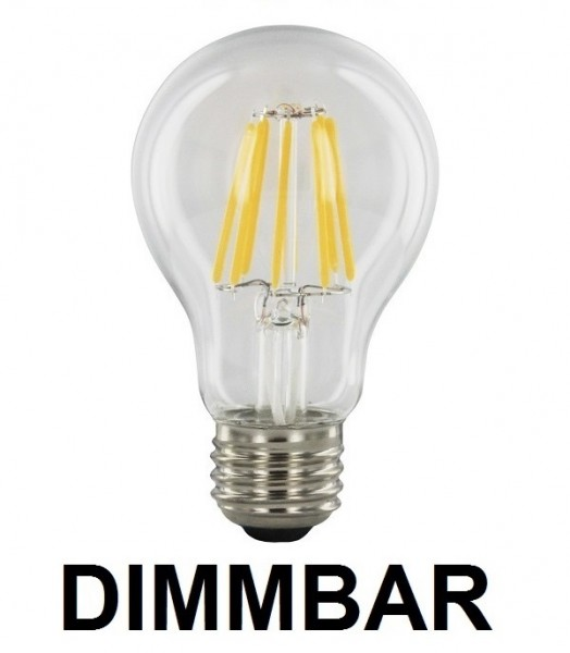 8 Watt Faden Filament LED Lampe, Birne, E27, Lichtfarbe warmweiß 2700 K, Klarglas, dimmbar