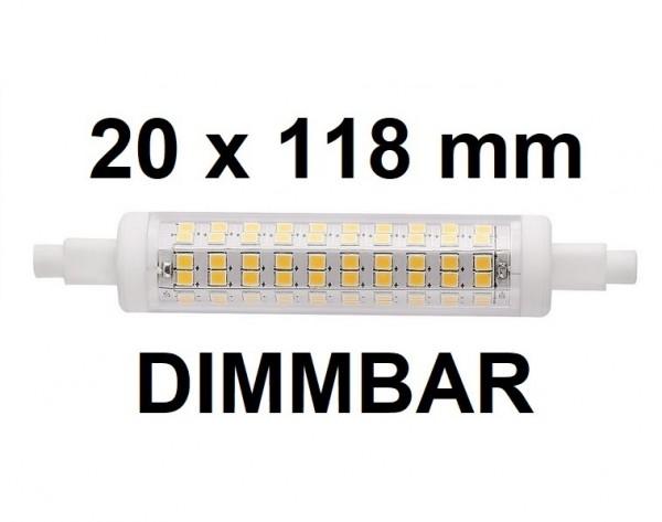 10 Watt R7S LED Lampe 20 x 118 mm, Lichtfarbe warmweiß 2700 K, dimmbar
