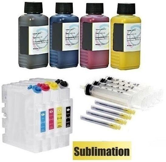 Wiederbefüllbare Tintenpatronen wie Ricoh GC-21 + 400 ml Dye-Sublimationstinten