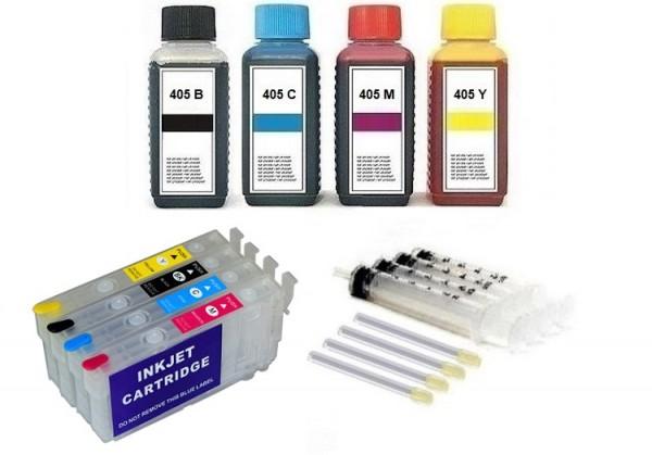Wiederbefüllbare Patronen wie Epson 405 XL OHNE CHIPS + Chipresetter + 400 ml Nachfülltinte