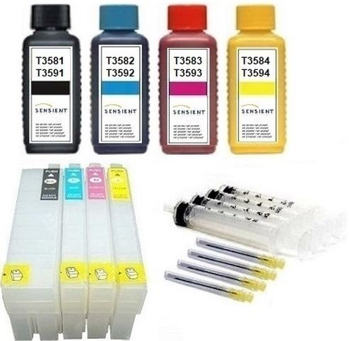 Wiederbefüllbare QUICKFILL-FILL-IN Patronen wie Epson T3591-T3594, T35 XL + 400 ml Sensient Tinten