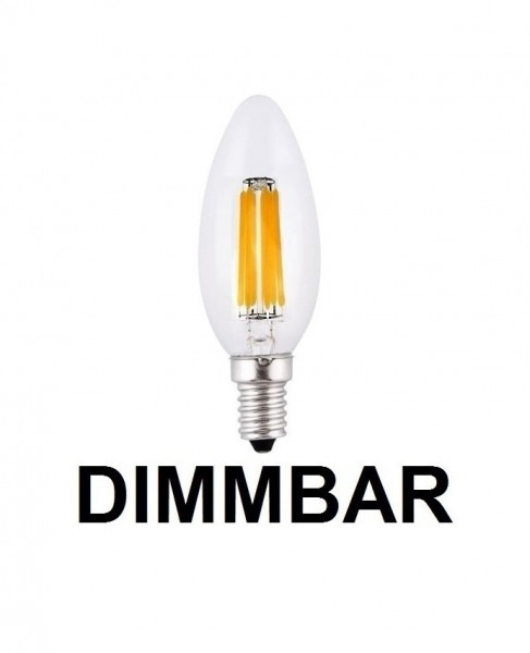 6 Watt Faden Filament LED Lampe, Kerze, E14, Lichtfarbe warmweiß 2700 K, Klarglas, dimmbar