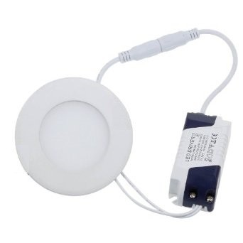 6 Watt LED Panel, 12 cm Durchmesser, Lichtfarbe warmweiß, Rahmen Weiss