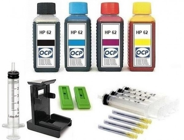 Nachfüllset für HP 62 (XL) black + color Tintenpatronen - 4 x 100 ml OCP Tinte + Zubehör
