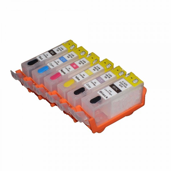 6 wiederbefüllbare Tintenpatronen wie Canon PGI-525 & CLI-526 mit Auto Reset Chips