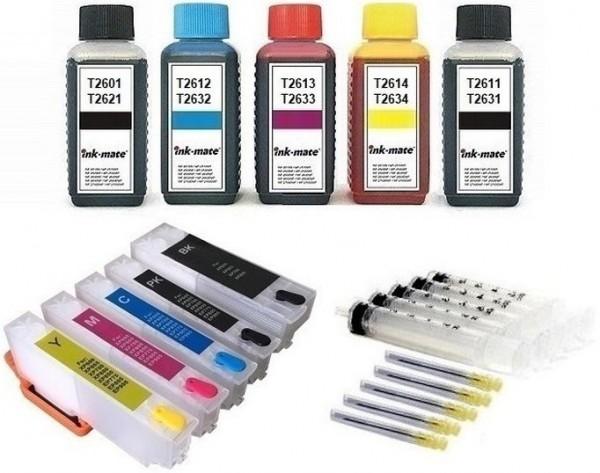 Wiederbefüllbare QUICKFILL-FILL-IN Patronen wie Epson T2621 + T2631-T2634 + 500 ml INK-MATE Tinten