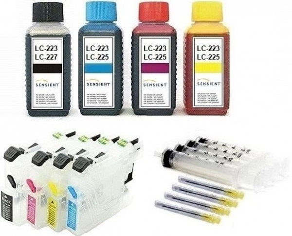 Wiederbefüllbare QUICKFILL-FILL-IN Patronen wie Brother LC-223, LC-225 + 400 ml SENSIENT Tinten