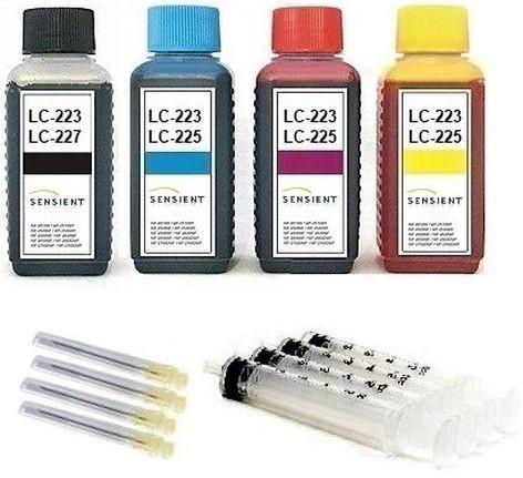 Nachfüllset für Brother Tintenpatronen LC-221, LC-223, LC-225, LC-227 - 4 x 100 ml Sensient Tinte