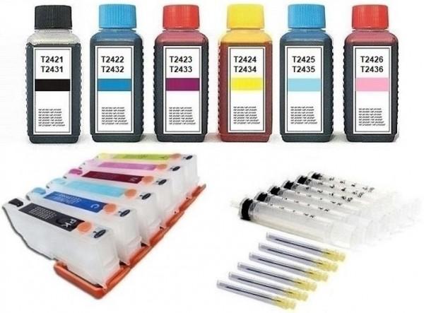 Wiederbefüllbare Tintenpatronen wie Epson T2431-T2436, T24 XL + 600 ml Nachfülltinte