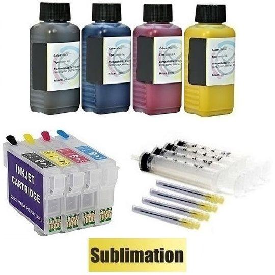 Wiederbefüllbare QUICKFILL-FILL-IN Patronen wie Epson T1281-T1284 + 400 ml Sublimationstinten
