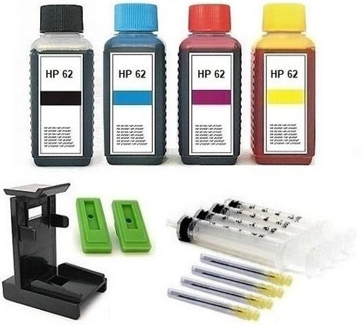 Nachfüllset für HP 62 (XL) black + color Tintenpatronen - 4 x 100 ml Nachfülltinte + Zubehör