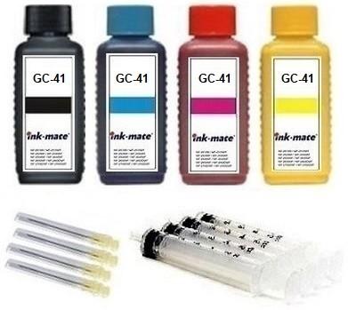Nachfüllset für Ricoh Tintenpatronen GC-41 black, cyan, magenta, yellow - 4 x 100 ml Tinte + Zubehör