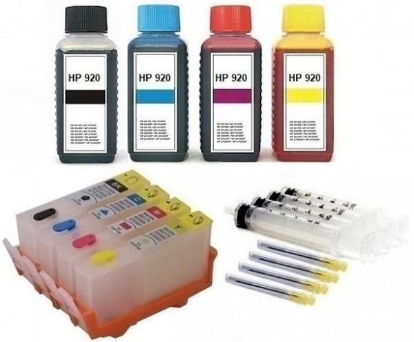 Wiederbefüllbare Tintenpatronen wie HP 920 + 400 ml Nachfülltinte