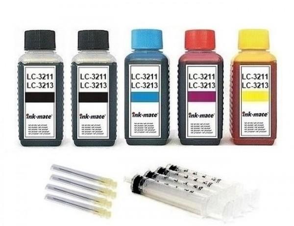 Nachfüllset für Brother Tintenpatronen LC-3211, LC-3213 - 5 x 100 ml Tinte + Zubehör