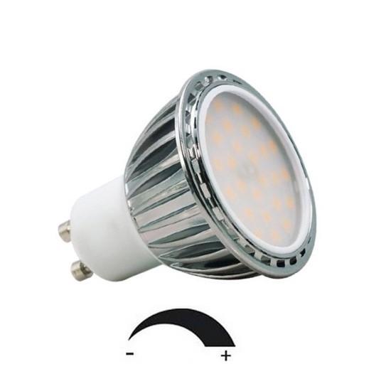 6,5 Watt LED-Spot GU10 Alu, Lichtfarbe warmweiß 2700 K, dimmbar - 120° Ausstrahlung