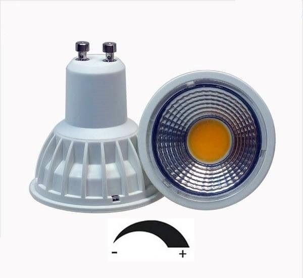 5 Watt COB LED-Spot GU10 Weiß, Lichtfarbe warmweiß 2700 K, dimmbar - 90° Ausstrahlung