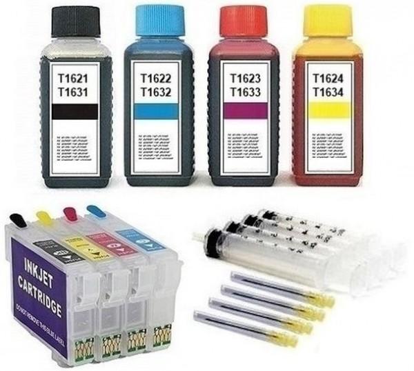 Wiederbefüllbare QUICKFILL-FILL-IN Patronen wie Epson T1631-T1634, T16 XL + 400 ml Nachfülltinte