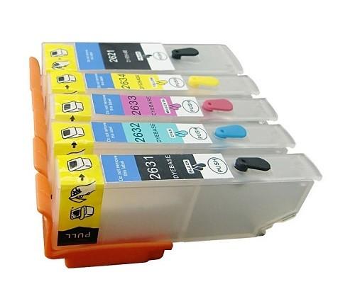 Wiederbefüllbare Tintenpatronen wie Epson T2621+T2631-T2634, T26 XL mit Auto Reset Chips