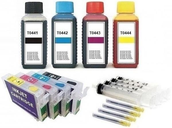 Wiederbefüllbare QUICKFILL-FILL-IN Patronen wie Epson T0441-T0444 + 400 ml Nachfülltinte