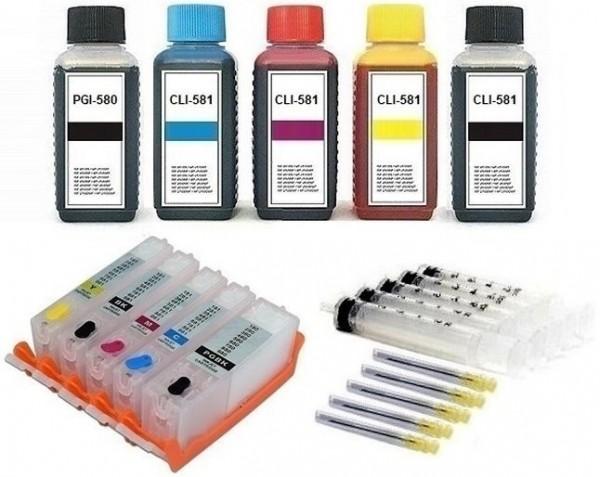 5 wiederbefüllbare Tintenpatronen wie Canon PGI-580 & CLI-581 + 500 ml Nachfülltinte