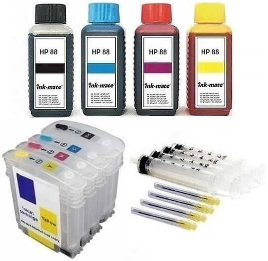 Wiederbefüllbare QUICKFILL-FILL-IN Patronen HP 88 XL + 400 ml Ink-Mate Tinten