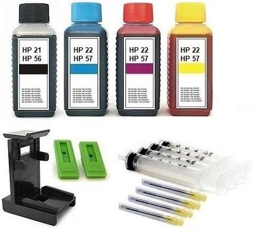 Nachfüllset für HP 21, 22, 27, 28, 56, 57 Tintenpatronen - 4 x 100 ml Nachfülltinte + Zubehör