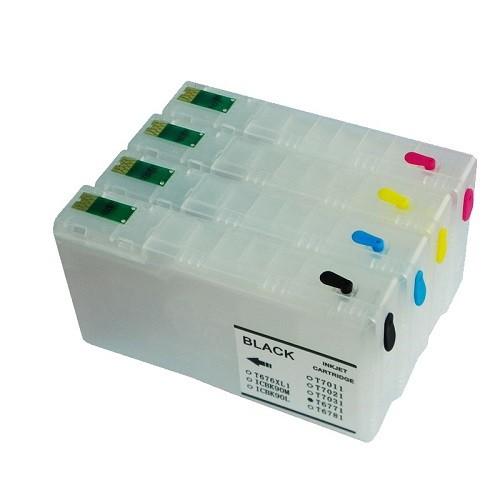 Wiederbefüllbare QUICKFILL-FILL-IN Patronen wie Epson T7011-T7014 mit Auto Reset Chips