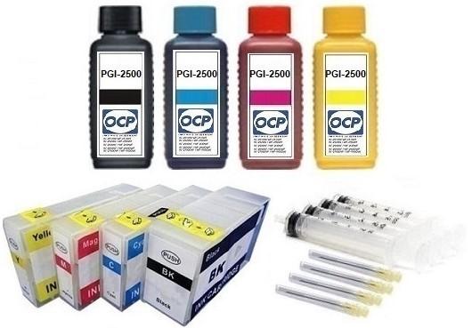 Wiederbefüllbare QUICKFILL-FILL-IN Patronen wie Canon PGI-2500 + 4 x 100 ml OCP Tinten