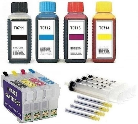 Wiederbefüllbare Tintenpatronen wie Epson T0711-T0714 + 400 ml Nachfülltinte