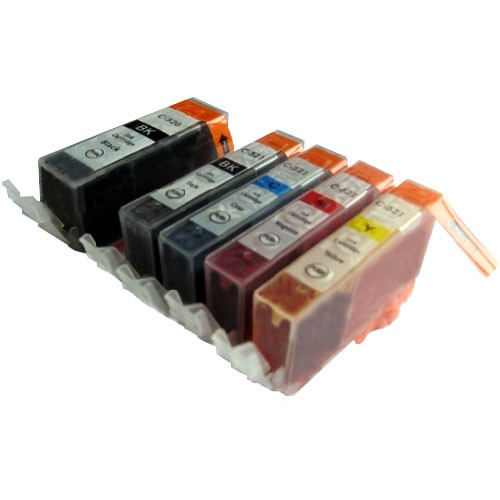 Druckerpatronen Set wie Canon PGI-520 & CLI-521 black, cyan, magenta, yellow - 5 Patronen