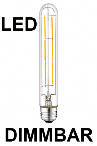 6 Watt Faden Filament LED-Lampe T30 - E27 - 185 mm Länge, Lichtfarbe warmweiß, dimmbar