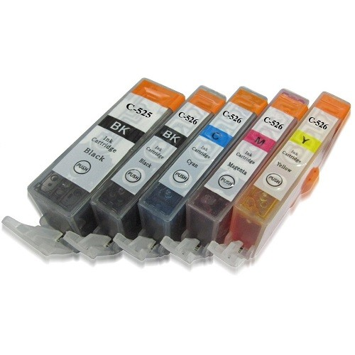 Druckerpatronen Set wie Canon PGI-525 & CLI-526 black, cyan, magenta, yellow - 5 Patronen