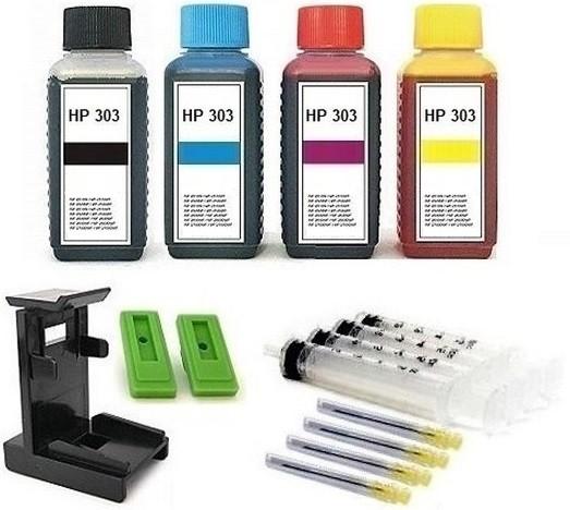 Nachfüllset für HP 303 (XL) black + color Tintenpatronen - 4 x 100 ml Nachfülltinte + Zubehör