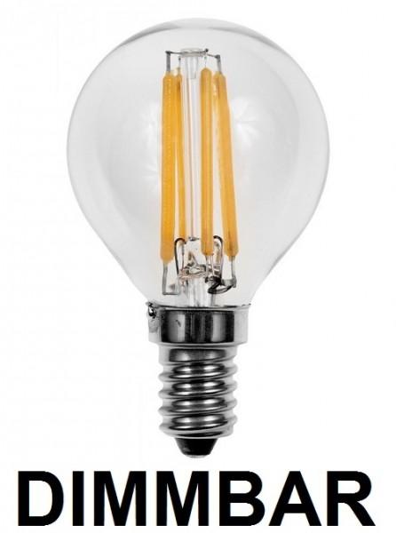 4 Watt Faden Filament LED Lampe, Birne, E14, Lichtfarbe warmweiß 2700 K, Klarglas, dimmbar