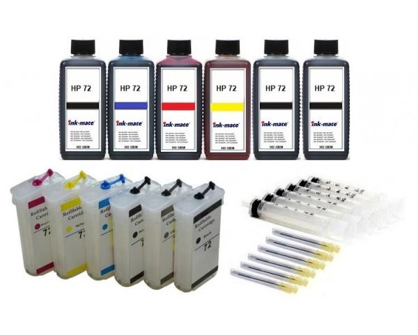Wiederbefüllbare Tintenpatronen wie HP 72 XL + 6 x 250 ml Nachfülltinte