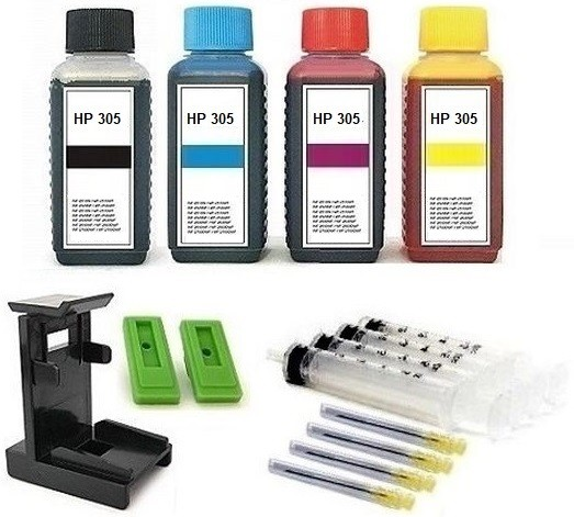 Nachfüllset für HP 305 (XL) black + color Tintenpatronen - 4 x 100 ml Nachfülltinte + Zubehör