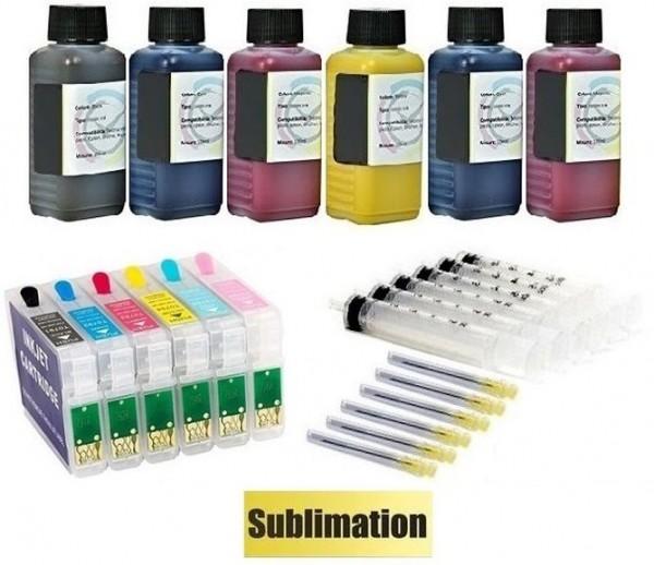Wiederbefüllbare Tintenpatronen wie Epson T0791-T0796 + 600 ml Dye-Sublimationstinten