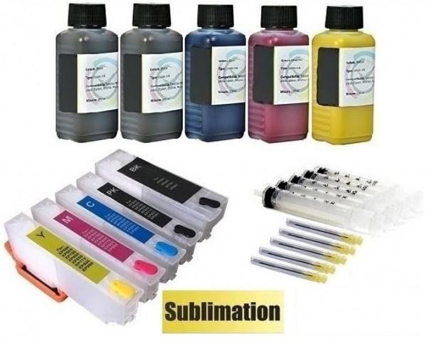 Wiederbefüllbare QUICKFILL-FILL-IN Patronen wie Epson T33 XL + 500 ml Sublimationstinte